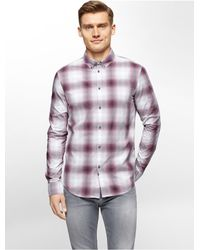 Calvin Klein - Purple Jeans Slim Fit Ombre Check Shirt for Men - Lyst