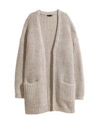 H&M - Natural Rib-knit Cardigan - Lyst
