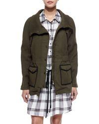 Veronica Beard - Brown Army Stretch Cotton Zip Jacket - Lyst