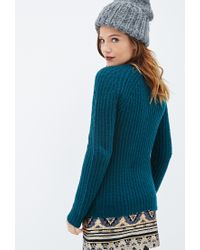 Forever 21 | Green Ribbed Knit Sweater You've Been Added To The Waitlist | Lyst
