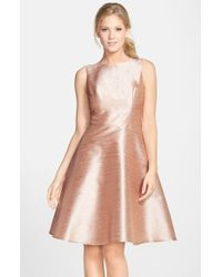 Alfred Sung | Metallic Bow Back Sleeveless Dupioni Dress | Lyst