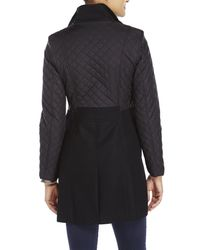 Kenneth Cole - Black Quilted Sleeve Coat - Lyst