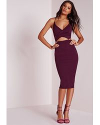 Missguided | Scuba Strappy Cut Out Midi Dress Purple | Lyst