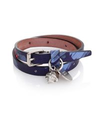 Alexander McQueen | Blue Double Wrap Leather Bracelet for Men | Lyst