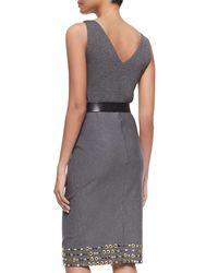 Donna Karan - Gray Sleeveless V-Neck Bodysuit - Lyst