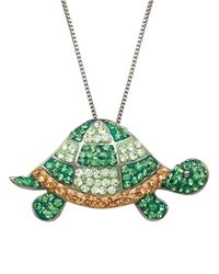 Lord & Taylor | Green Sterling Silver And Crystal Turtle Pendant Necklace | Lyst