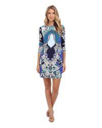 Donna Morgan | Blue 3/4 Sleeve Shift Statement Print Dress | Lyst