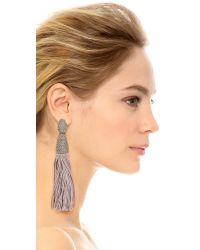Oscar de la Renta - Gray Chain & Silk Tassel Earrings - Smoke - Lyst