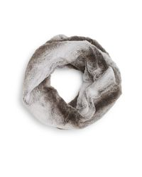 Modena - Gray Faux Fur Circle Scarf - Lyst