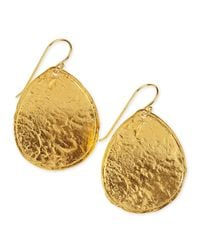 Nest | Metallic Hammered 22k Gold Plate Teardrop Earrings | Lyst