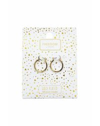 TOPSHOP | Metallic Gold Plated Hoop Earrings | Lyst