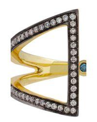 Noor Fares | Metallic Open Rhombus Ring in Yellow Blackened Gold and White Diamonds | Lyst