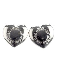 Marc By Marc Jacobs | Metallic Domed Logo Heart Studs | Lyst