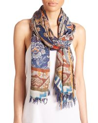 Etro - Blue Wallpaper Modal and Cashmere Scarf - Lyst