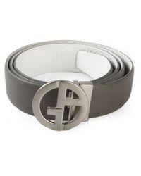 Giorgio Armani - Gray Logo Plaque Leather Belt for Men - Lyst