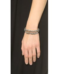 Alexis Bittar | Metallic Antique Set Crystal Stack Bracelet - Silver | Lyst