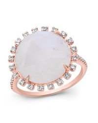 Anne Sisteron | White 14kt Rose Gold Moonstone Sunburst Diamond Cocktail Ring | Lyst
