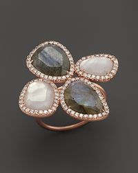 Meira T | Gray 14k Rose Gold Labradorite And Rose Quartz Flower Ring | Lyst