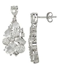 Lord & Taylor | Metallic Sterling Silver And White Crystal Drop Earrings | Lyst