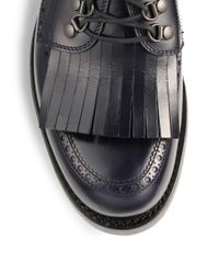 Gucci - Black Leather Fringed Brogue Laceup Shoes for Men - Lyst