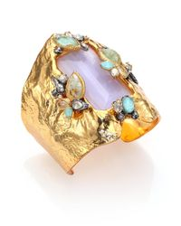 Alexis Bittar | Metallic Elements Moonlight Amazonite, Mother-Of-Pearl & Crystal Wide Baguette Cuff Bracelet | Lyst