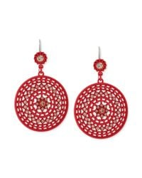 Jessica Simpson - Silvertone Crystal Pink Disc Drop Earrings - Lyst