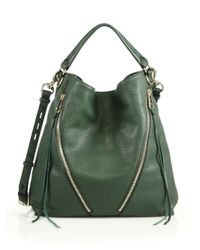 Rebecca Minkoff | Green Moto Leather Hobo Bag | Lyst