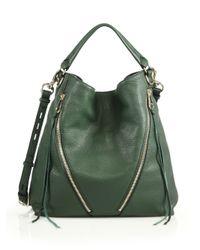 Rebecca Minkoff   Green Moto Leather Hobo Bag   Lyst