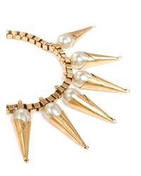 Ela Stone - Metallic Carla Pearl Cone Chain Necklace - Lyst