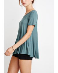 Forever 21 - Green Ribbed Trapeze Tee - Lyst