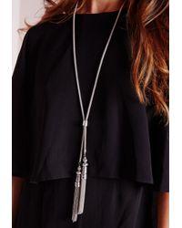 Missguided - Metallic Chain Tie Tassel Necklace Silver - Lyst