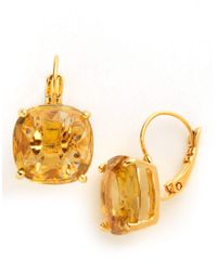 kate spade new york | Yellow Small Square Solitaire Drop Earrings | Lyst
