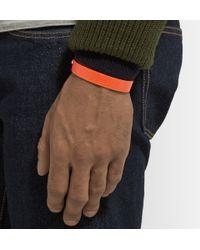 Valextra - Orange Pebbled-Leather Bracelet for Men - Lyst