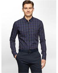 c72aa240bf0 Calvin Klein. Men s Black White Label Slim Fit Diamond Dobby Plaid Shirt