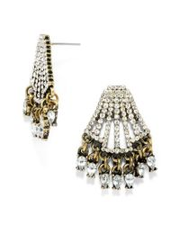 BaubleBar - Metallic 'chrysler' Pave Stud Earrings - Clear/ Antique Gold - Lyst
