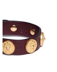 Valentino - Red Gryphon Stud Leather Bracelet - Lyst