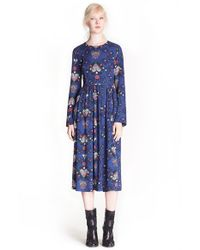 MSGM - Blue Heart Print Midi Dress - Lyst