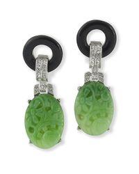 Kenneth Jay Lane | Green Black And Jade Art Deco Clip Earring | Lyst