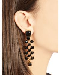 Oscar de la Renta - Black Swarovski Crystal Checkered Earrings - Lyst