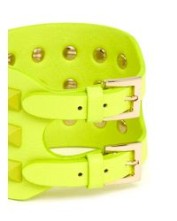 Valentino | Yellow 'rockstud' Wide Leather Bracelet | Lyst