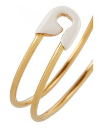 Iam By Ileana Makri | White Enameled Gold-Plated Safety Pin Cuff | Lyst