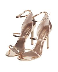 TOPSHOP - Metallic Ripple Skinny Strap Sandals - Lyst