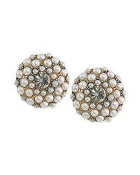 Carolee - White 14k Antique Goldtone Imitation Pearl Button Clipon Earrings - Lyst