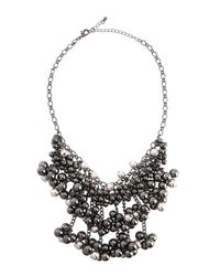 Fragments - Black Pearly Hematite Beaded Bib Necklace - Lyst