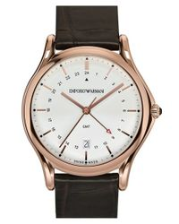 Emporio Armani - Brown Gmt Leather Strap Watch for Men - Lyst