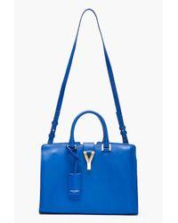 Saint Laurent - Blue Leather Ligne Y Small Cabas Tote - Lyst