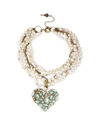 Betsey Johnson - White Brasstone Faux Pearl and Multichain Heart Pendant Necklace - Lyst