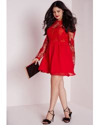 Missguided - Plus Size Lace Prom Dress Red - Lyst