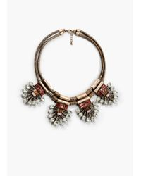 Mango | Metallic Crystal Appliqué Necklace | Lyst