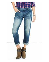 Express | Blue Medium Distressed Faded Boyfriend Jeans | Lyst